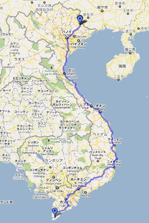 クリックするしとgoogl地図でベトナムの国道1号線を表示します。